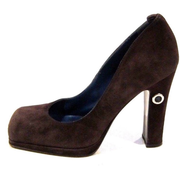 0f683ad7b733 Fendi Shoes - FENDI Brown Suede Platform Heels Pumps Square Toe